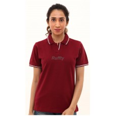RUFFTY WOMEN'S COTTON POLO, Maroon with white ( RTF15 )