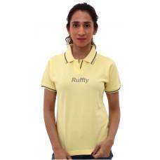 RUFFTY WOMEN'S COTTON POLO, Lemon Yellow with Black ( RTF17 )