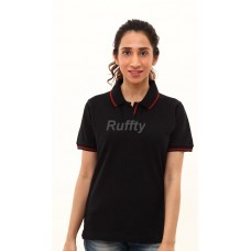 RUFFTY WOMEN'S COTTON POLO, BLACK WITH RED TIPPING ( RTF2 )