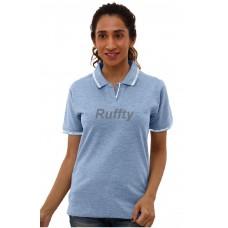 RUFFTY WOMEN'S COTTON POLO, Light Denim with white ( RTF27 )
