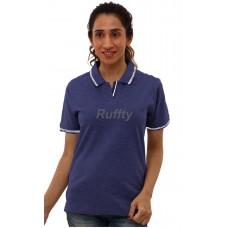RUFFTY WOMEN'S COTTON POLO, Dark Denim with White ( RTF29 )