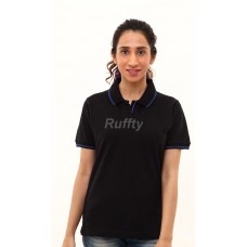 RUFFTY WOMEN'S COTTON POLO, BLACK WITH E Blue TIPPING ( RTF3 )