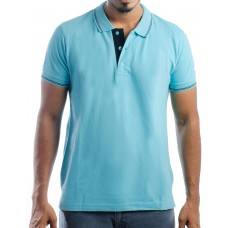 Ruffty Mens Cotton Polo,Collar Half Sleeve Tshirt, Aqua Blue ( RT-25 )