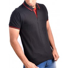 Ruffty Mens Cotton Polo,Collar Half Sleeve Tshirt, Black ( RT-1 )