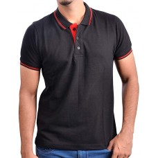 RUFFTY MENS COTTON POLO, BLACK WITH RED TIPPING ( RT-2 )