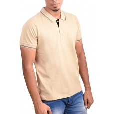 Ruffty Mens Cotton Polo,Collar Half Sleeve Tshirt, Beige ( RT-18 )