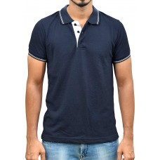 Ruffty Mens Cotton Polo,Collar Half Sleeve Tshirt, Dark Denim ( RT-29 )