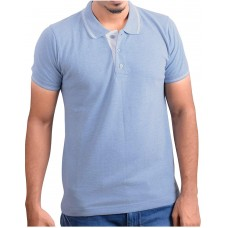 Ruffty Mens Cotton Polo,Collar Half Sleeve Tshirt, Light Denim ( RT-27 )