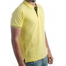 Ruffty Mens Cotton Polo,Collar Half Sleeve Tshirt, Lemon Yellow ( RT-22 )