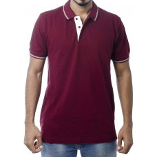 Ruffty Mens Cotton Polo,Collar Half Sleeve Tshirt, Maroon  ( RT-15 )