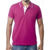 Ruffty Mens Cotton Polo,Collar Half Sleeve Tshirt, Megenta  ( RT-24 )