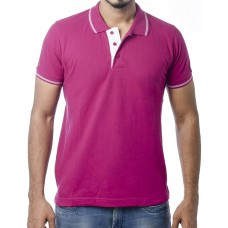 Ruffty Mens Cotton Polo,Collar Half Sleeve Tshirt, Megenta  ( RT-24 )