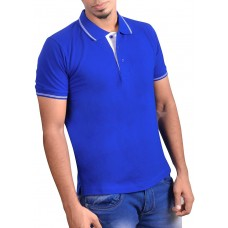 Ruffty Mens Cotton Polo,Collar Half Sleeve Tshirt, Royal Blue ( RT-12 )