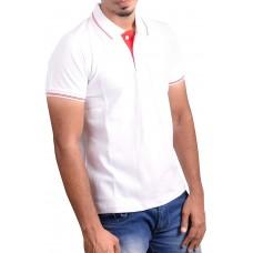Ruffty Mens Cotton Polo,Collar Half Sleeve Tshirt, White  ( RT-7 )
