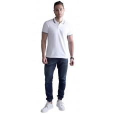 Wild Horn Polo T-Shirts White/Black with Black Jacquard  ( WH11 )
