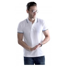 Wild Horn Polo T-Shirts  White/Black with Blue Jacquard  ( WH3 )