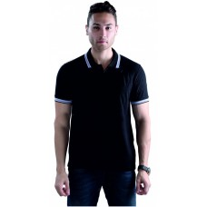 Wild Horn Polo T-Shirts Black/Black with Blue Jacquard ( WH8 )